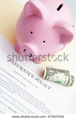 insurance policy and piggy bank with dollar - stock photo