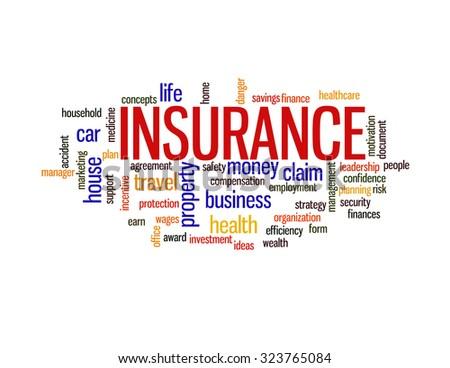 Insurance protection info text arrangement concept word cloud - stock photo