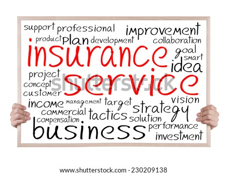 insurance service and other related words handwritten on whiteboard with hands - stock photo