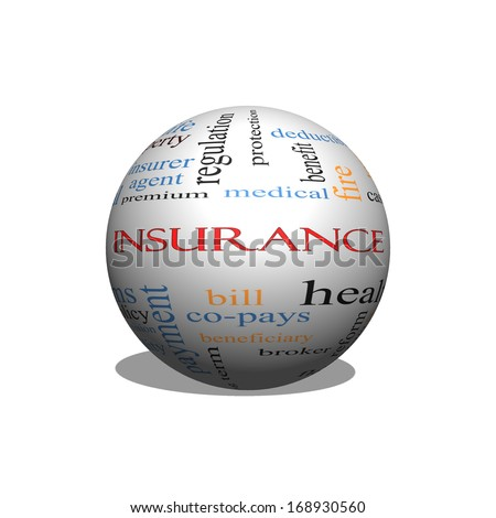 Insurance Word Cloud Concept on a Sphere with great terms such as medical, copay, bills and more. - stock photo