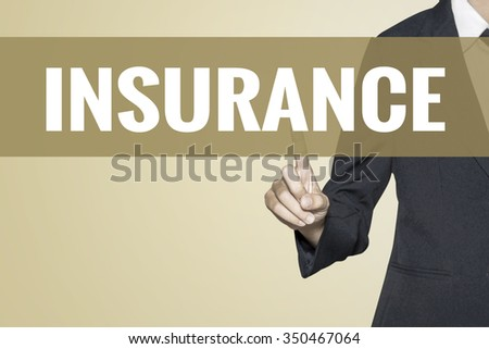 Insurance word on vintage background retro virtual screen touch by business woman on white background - stock photo