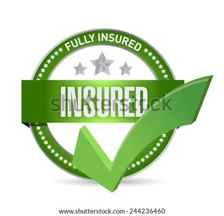 insured check mark seal illustration design over a white background
