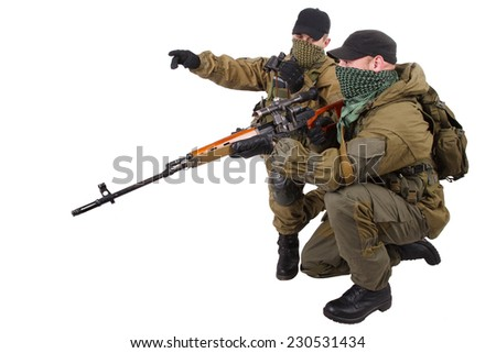 insurgent sniper pair with SVD rifle isolated on white background - stock photo