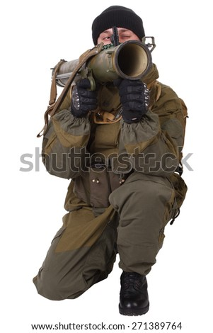insurgent wearing shemagh with RPG rocket launcher isolated on white
