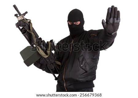 insurgent with machine gun isolated - stock photo