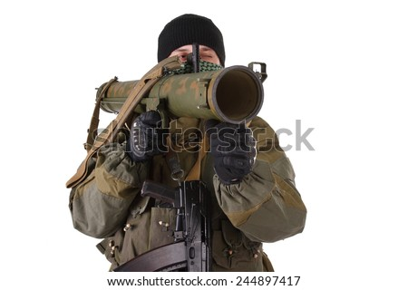 insurgent with RPG rocket launcher  isolated on white