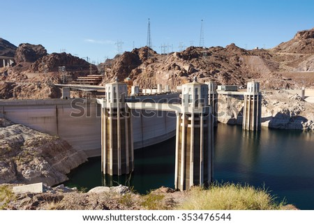 Intake towers at Hoover Dam, Collection towers at Hoover Dam. View of low water level of Lake Mead - stock photo