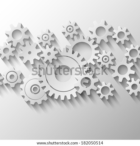 Integrated cogs and gears emblem  illustration - stock photo