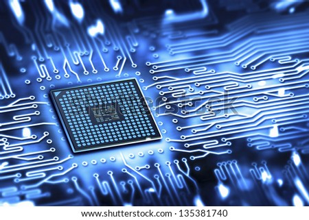 integrated microchip - stock photo