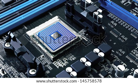 integrated motherboard component,data and information storage, technology concept - stock photo