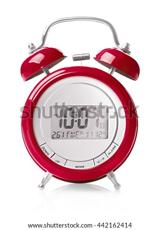 Integrated old-fashioned alarm clock with digital clock concept on a white background  - stock photo