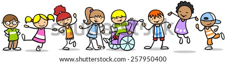 Integration of different children with disabilities with other kids - stock photo