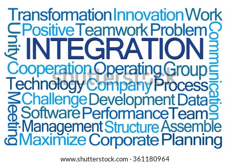 Integration Word Cloud on White Background - stock photo