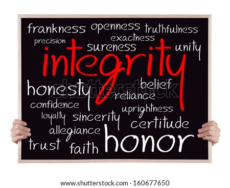 integrity and other related words handwritten on blackboard with hands - stock photo