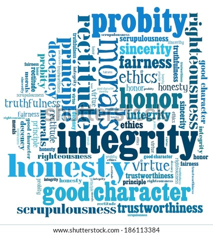Integrity in word collage - stock photo