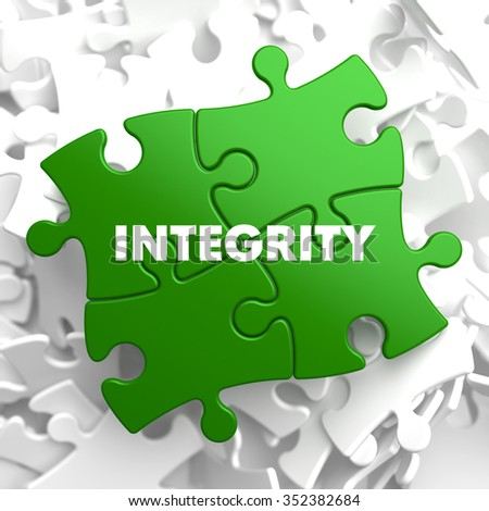 Integrity on Green Puzzle on White Background. - stock photo