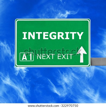 INTEGRITY road sign against clear blue sky - stock photo