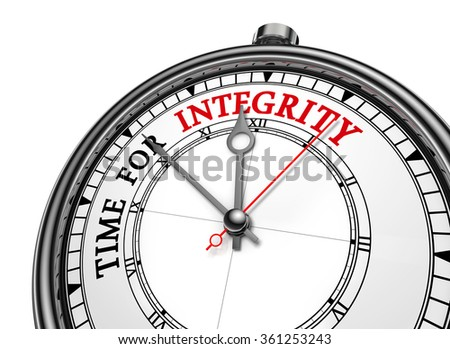 Integrity time red message on concept clock, isolated on white background