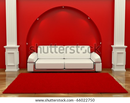 Inteiror. Sofa between the columns in red room. 3d