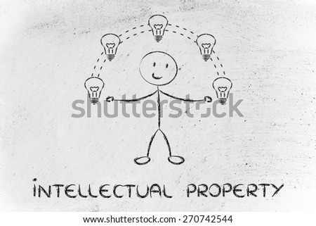 intellectual property and copyright ownership: funny character juggling with ideas - stock photo