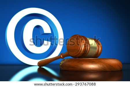 Intellectual property and digital copyright laws conceptual illustration with copyright symbol and icon and a gavel on blue background. - stock photo