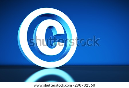 Intellectual property and digital copyright laws conceptual illustration with copyright symbol and icon on blue background. - stock photo