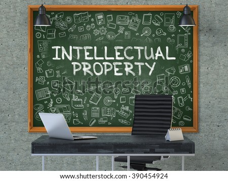 Intellectual Property Concept Handwritten on Green Chalkboard with Doodle Icons. Office Interior with Modern Workplace. Gray Concrete Wall Background. 3D. - stock photo