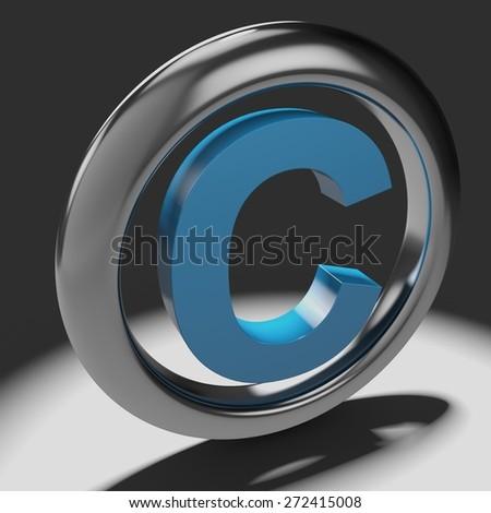 Intellectual Property. 3D. Copyright Symbol - stock photo