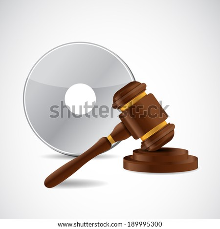 intellectual property law protection hammer illustration design over a white background - stock photo