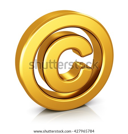 Intellectual property protection, patent and trademark law technology concept: 3D render illustration of shiny golden metallic copyright symbol isolated on white background with reflection effect - stock photo