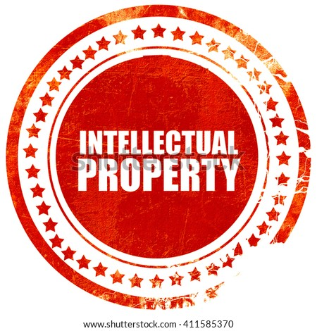 intellectual property, red grunge stamp on solid background - stock photo