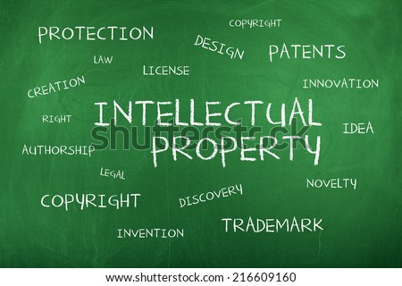 Intellectual Property Word Cloud - stock photo