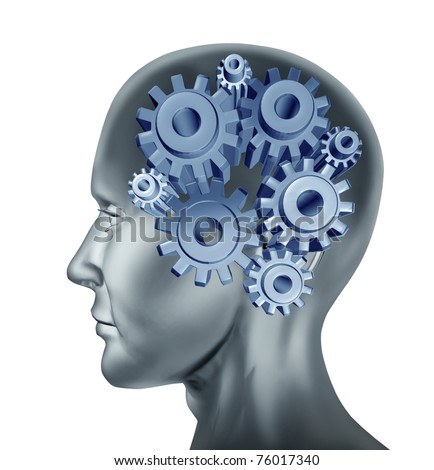 intelligence and brain function symbol isolated on white represented by cogs and gears within the human head. - stock photo