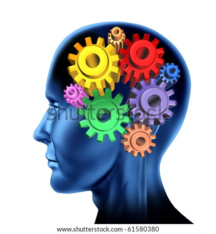 intelligence brain function isolated - stock photo