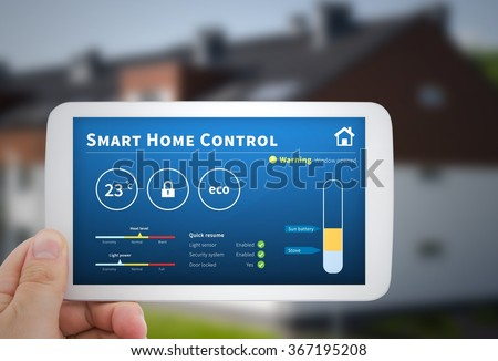 Intelligence home control technology. Remote automation system on mobile device. Eco and security solution - stock photo