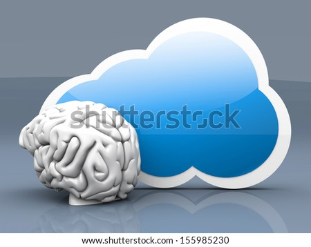 Intelligence of cloud computing. 3D rendered illustration. - stock photo