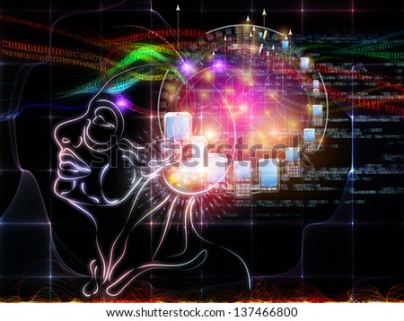Intelligence series. Composition of human head outlines, lights and fractal elements suitable as a backdrop for the projects on intelligence, knowledge, education, science and technology - stock photo