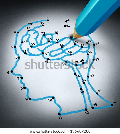 Intelligence therap and brain research challenges as a medical concept with a connect the dots drawing puzzle connected by a blue pencil used by a doctor shaped as a human head and thinking organ. - stock photo