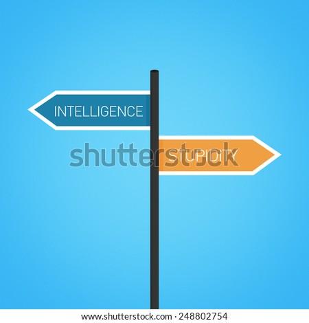 Intelligence vs stupidity choice road sign concept, flat design - stock photo