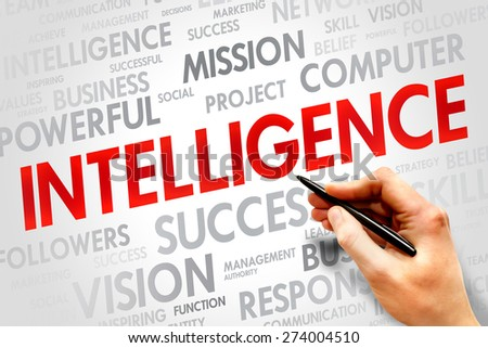 Intelligence word cloud, business concept - stock photo