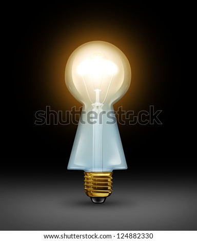 Intelligent answers and key ideas as brilliant business solutions concept with a light bulb in the shape of a keyhole on a black background as a concept of a creative key and expert guidance. - stock photo