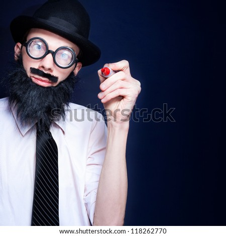 Intelligent Business Person Writing On Blank Copyspace With A Red Pen During A Business Marketing Presentation Of Inventive Ideas - stock photo