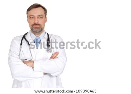 Intelligent doctor is taking in his office