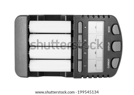 Intelligent Ni-MH battery charger with AA batteries. Isolated on white backgroungd with clipping path. - stock photo