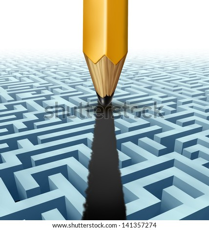 Intelligent planning and solving problems finding the best creative solution to a complicated three dimensional maze with a clear shortcut path created by drawing a line on a labyrinth with a pencil. - stock photo