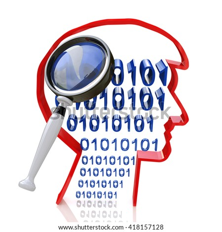 intelligent search for information related to the design and analysis of intelligence. 3d illustration - stock photo