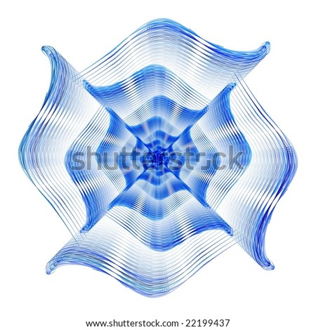 Intense blue abstract fractal design on white background - stock photo