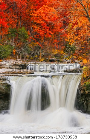 Intense fall color surrounds whitewater spilling over Upper Cataract Falls, a waterfall in Indiana's Lieber State Recreation Area. - stock photo