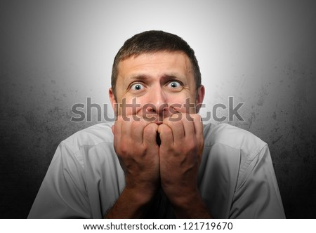 Intense fear businessman, concept blackout crisis - stock photo