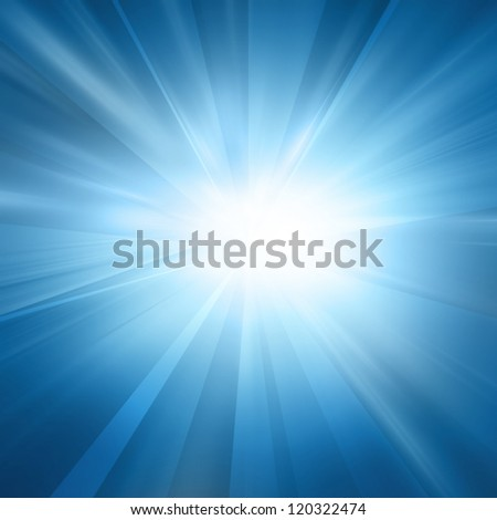 Intense sun on a soft blue background - stock photo